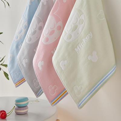 竹纖維提花童巾4條裝(25*50) 混色拼裝