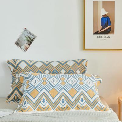 四层水洗枕巾一对装(52*78) 波浪三角蓝