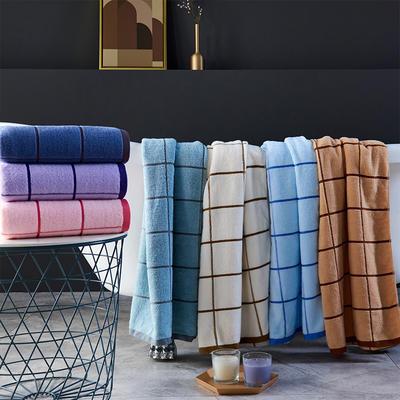 大方格浴巾 粉色