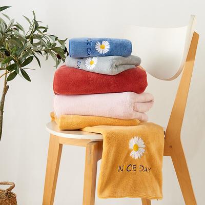 珊瑚絨雛菊毛巾浴巾 浴巾一條 藍色