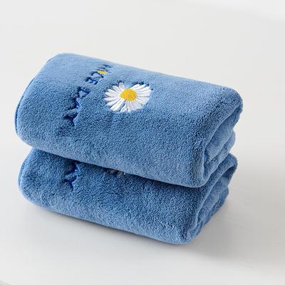 珊瑚绒雏菊毛巾浴巾 浴巾一条 蓝色