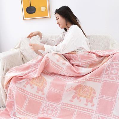 雙層紗布毛巾被蓋毯 200cmx230cm 方格象-粉色