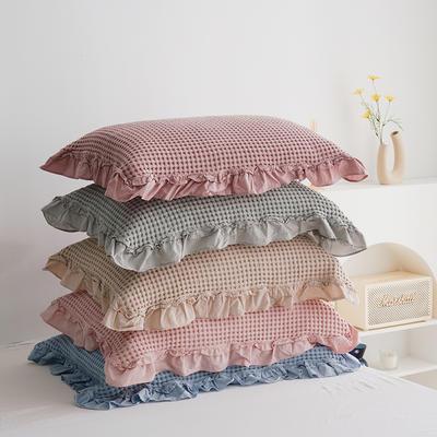 韓版花邊枕巾 豆沙