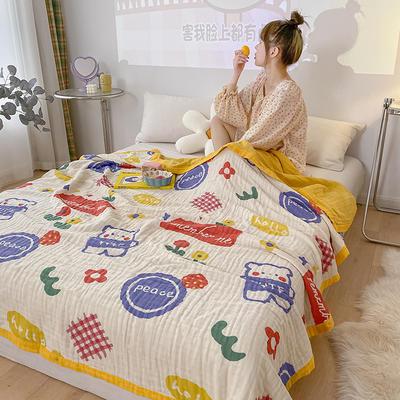 六層紗布印花蓋毯 120*150 彩虹