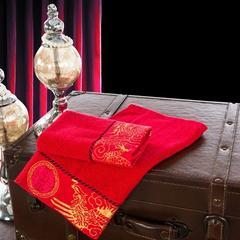 鸾凤和鸣方巾 大红色龙