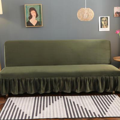 2020新款金貂绒裙边款沙发床套 120-140cm*100cm 橄榄绿