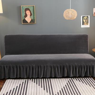 2020新款金貂绒裙边款沙发床套 120-140cm*100cm 经典灰