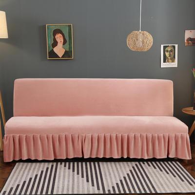 2020新款金貂绒裙边款沙发床套 120-140cm*100cm 裸妆粉