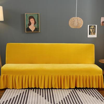 2020新款金貂绒裙边款沙发床套 120-140cm*100cm 时尚黄