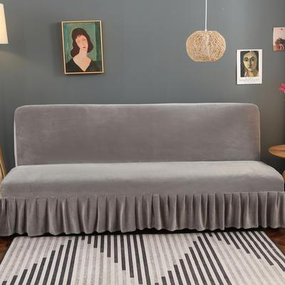 2020新款金貂绒裙边款沙发床套 120-140cm*100cm 运动灰