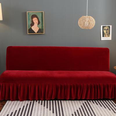 2020新款金貂绒裙边款沙发床套 120-140cm*100cm 中国红