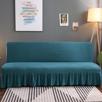 2020新款玉米绒裙边款沙发床套B款 120-140cm*100cm 青石蓝