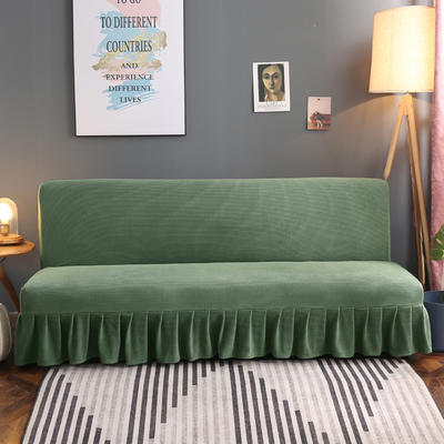 2020新款玉米绒裙边款沙发床套B款 120-140cm*100cm 松柏绿