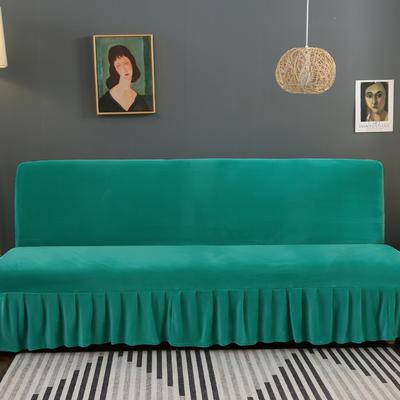 2020新款金貂绒裙边款沙发床套 120-140cm*100cm 暗夜绿