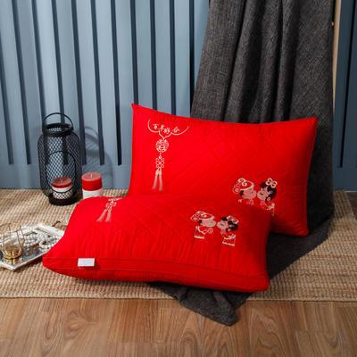 2019新款羽丝绒枕-绗绣百年好合 百年好合48*74cm