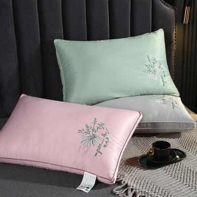 2020新款羽丝绒枕头枕芯-48*74cm/只 羽丝绒枕芯艾草-灰色