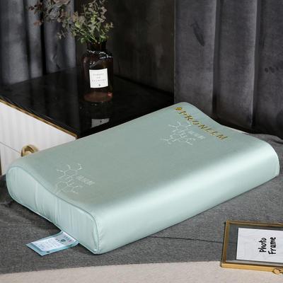 2020新款乳胶枕枕头枕芯-48*74cm 刺绣工艺款乳胶枕-水绿