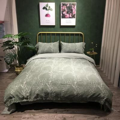 套件专区 2018新款全棉双层纱提花四件套 1.5m/1.8m床 1213、通幽-深绿