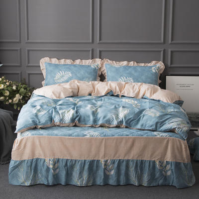2018新款-纯棉13070床裙款四件套 床裙1.2m   被套1.6m 欣欣然-蓝(夹棉)