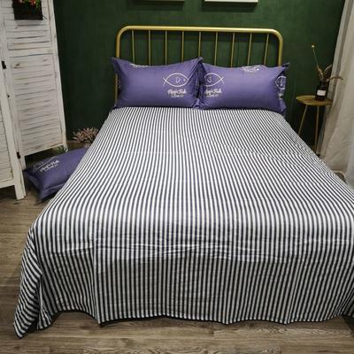 2019新款多规格全棉13070单品床单 160*230cm 只如初见蓝