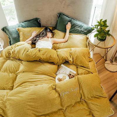 2019新款套件绒、拉花宝宝绒工艺款四件套(TJ3002-BK) 1.5m床单款 晚安-姜黄
