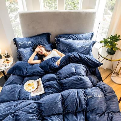 2019新款套件绒、拉花宝宝绒工艺款四件套(TJ3002-BK) 1.8m床单款 晚安-深蓝