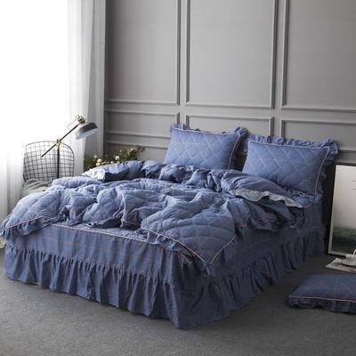 2019新款全棉13070床裙款四件套(TJ2002-BK)—单品被套 单被套160*210cm直角款 欣欣然蓝