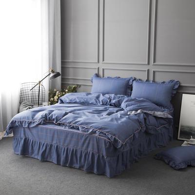 2019新款全棉13070床裙款四件套(TJ2002-BK)—单品被套 单被套160*210cm直角款 格调生活
