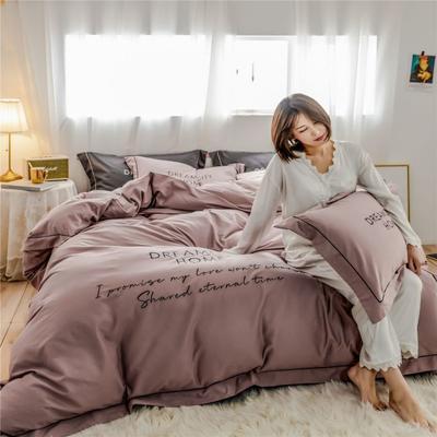 2019新款套件60支全棉磨毛-奢系列四件套(TJ2005-BK) 1.8m床单款 奢-紫豆沙