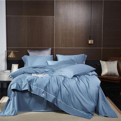 2019新款套件60支全棉磨毛-皇系列四件套(TJ2006-BK) 1.5m床单款四件套 皇-宾利蓝