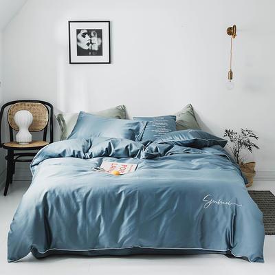 2020新款套件(TJ2011-BK)60长绒棉-纯色刺绣滚边四件套—文艺风 1.2m床单款三件套 宾利蓝