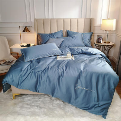 2020新款套件(TJ2011-BK)60长绒棉-纯色刺绣滚边三件套—轻奢风 1.2m床单款三件套 滚边-宾利蓝