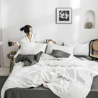 2020新款套件(TJ2011-BK)60长绒棉-纯色双拼四件套—文艺风 1.2m床单款三件套 双拼-本白