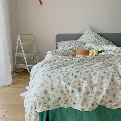 2020新款套件(TJ2001-BK)全棉双层纱流苏款四件套 小号床单款三件套 花期绿