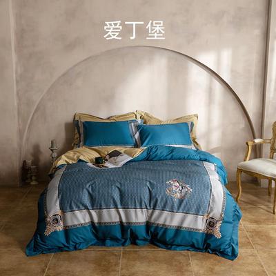 2021新款套件、(TJ2101-BK)60支长绒棉数码印花四件套 1.8m床单款四件套 爱丁堡