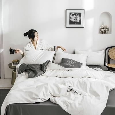 2021新款套件、(TJ3001-BK)60长绒棉-纯色双拼四件套—文艺风 1.2m床单款三件套 双拼-本白