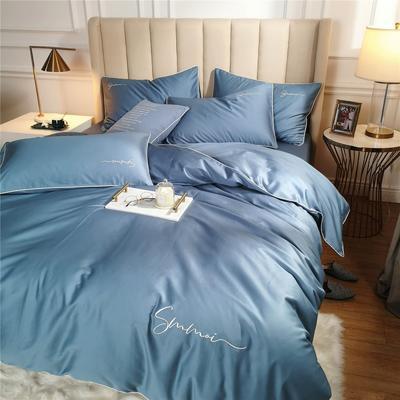 2021新款套件、(TJ3002-BK)60长绒棉-纯色刺绣滚边四件套—轻奢风 1.2m床单款三件套 滚边-宾利蓝