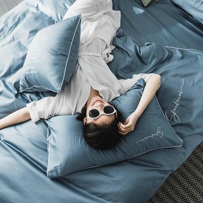 2021新款套件、(TJ3002-BK)60长绒棉-纯色刺绣滚边四件套—文艺风 1.2m床单款三件套 宾利蓝