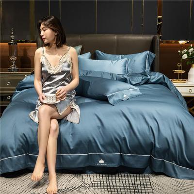 2021新款套件、(TJ3003-BK)60支长绒棉-皇系列四件套 1.2m床单款三件套 皇-宾利蓝