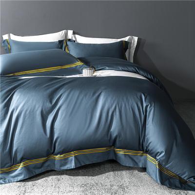 2021新款套件、(TJ3005-BK)60长绒棉-简系列四件套 1.5m床单款四件套 简-宾利蓝