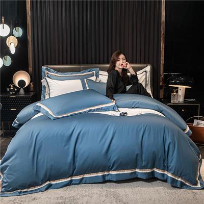 2021新款套件、(TJ3010-BK)60长绒棉-典雅系列四件套 1.8m床单款四件套 典雅-宾利蓝