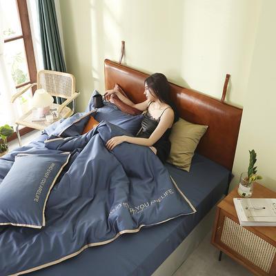 2021新款套件、(TJ3101-BK)60长绒棉-逸系列四件套 1.5m床单款四件套 逸-景泰蓝
