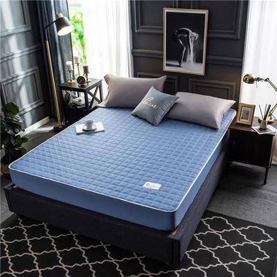 2020新款40支全棉加厚夹棉床笠床垫 180*200cm 高度30cm 海蓝