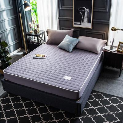 2020新款40支全棉加厚夹棉床笠床垫 180*200cm 高度30cm 灰紫