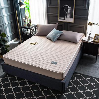 2020新款40支全棉加厚夹棉床笠床垫 180*200cm 高度30cm 米色