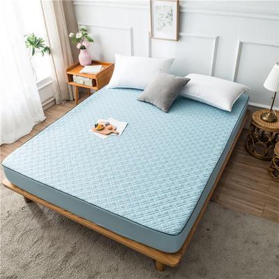 2020新款90克磨毛加厚夹棉床笠床垫 180*200cm 高度30cm 水蓝