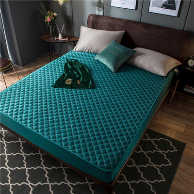 2020新款高密水洗真丝加厚夹棉床笠床垫 180*200cm 高度30cm 靛青