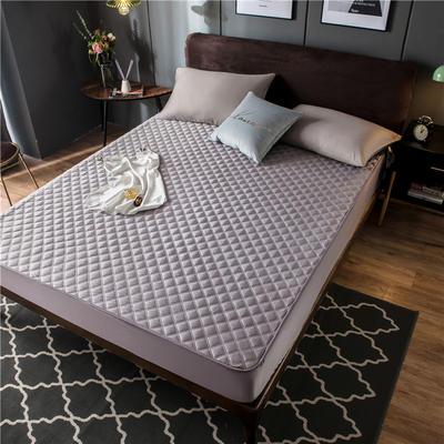 2020新款高密水洗真丝加厚夹棉床笠床垫 180*200cm 高度30cm 灰紫