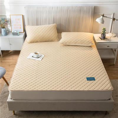 2020新款凉感丝加厚乳胶床垫床笠 180*200cm 高度30cm 米黄