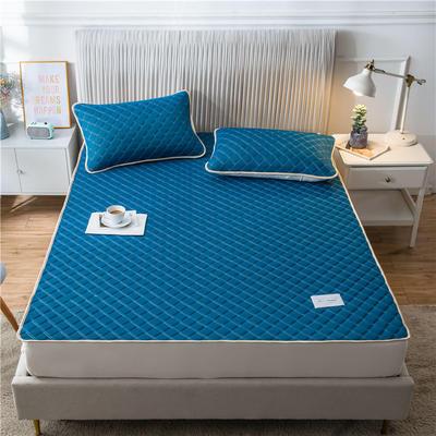 2020新款凉感丝加厚乳胶床垫床笠 180*200cm 高度30cm 青蓝